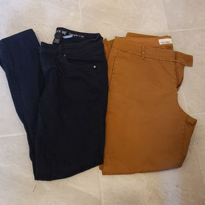 Two Pairs Size 4 Pants Gold & Jean Material